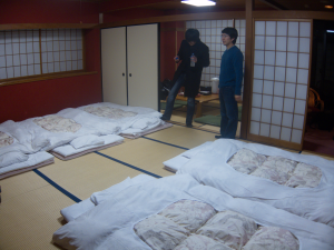 Room transformed into sleeping mode