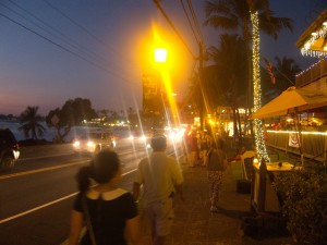 Evening in Kona shopping area