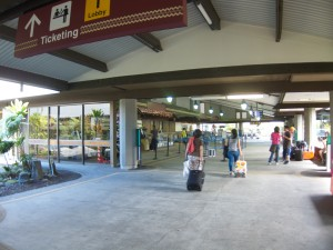 Open-air ticket counter in Hilo Airport